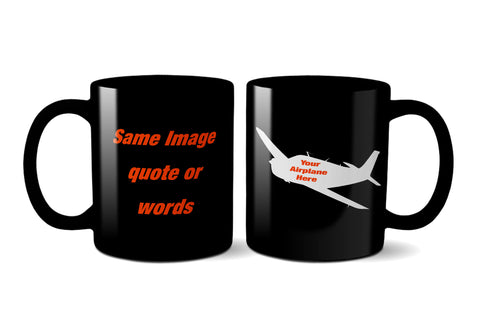 Custom Aviation Ceramic Mug (Black) - Personalized w/ your Airplane