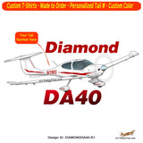 Diamond DA-40 Airplane T-Shirt - Personalized with Your N#