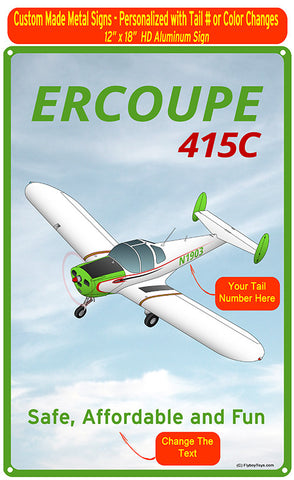 Erco Ercoupe 415C HD Metal Airplane Sign - Green
