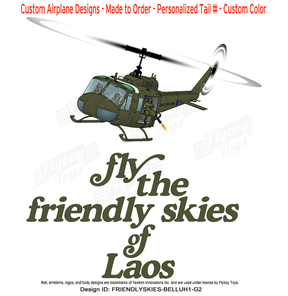 Fly The Friendly Skies of Laos Bell UH-1 Huey Airplane Design