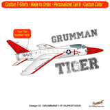 Grumman F11F-1F Super Tiger Fighter Jet Airplane T-shirt -Personalized w/Your N#