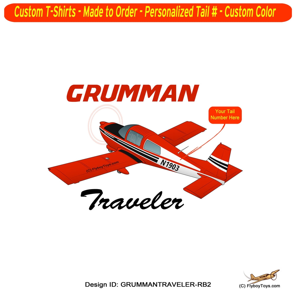 Grumman American AA-5 Traveler Airplane T-shirt - Personalized with