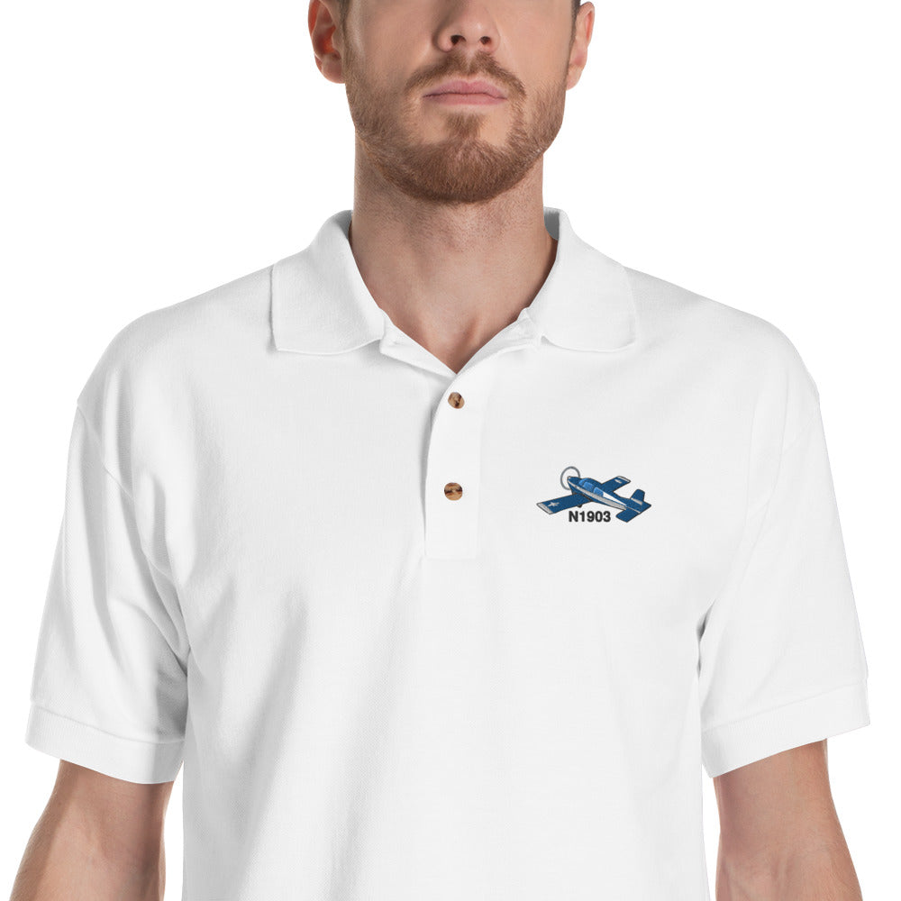 Grumman Airplane Embroidered Polo Shirt - AIR7ILKI1AA5-B1 - Personalized with Your N#