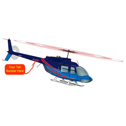 Helicopter Design (Blue/Red) - HELI25C206-BR1