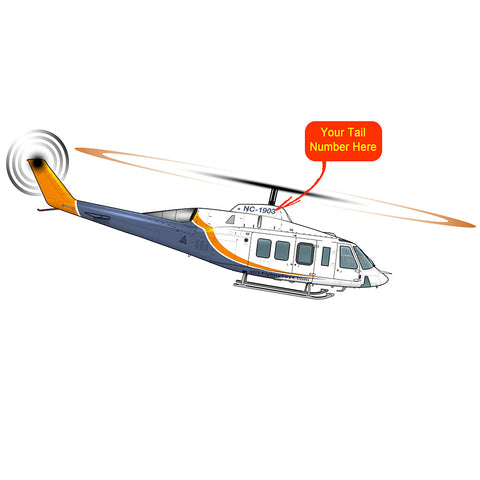 Helicopter Design - (Blue/Orange)  - HELI25C214ST-BO1