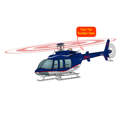 Helicopter Design (Blue/Red) - HELI25C407-RB1