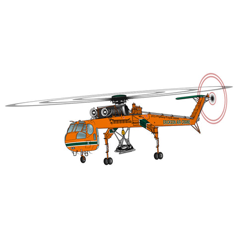 Skycrane / Aircrane Helicopter Design (Yellow) - HELI5I9S64F-Y1