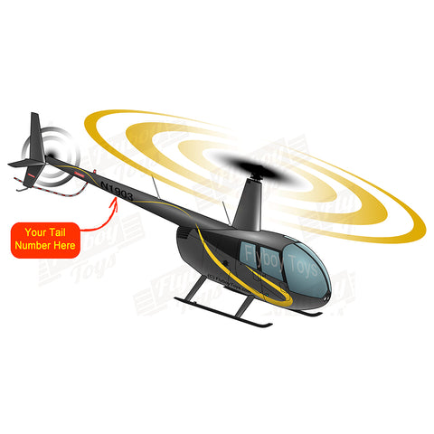 Helicopter Design (Black/Yellow) - HELIIF2R44-BY1