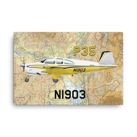 "24"" x 36"" Airplane Canvas Wraps Airport Maps  - Customize w/ your Airplane & N#"
