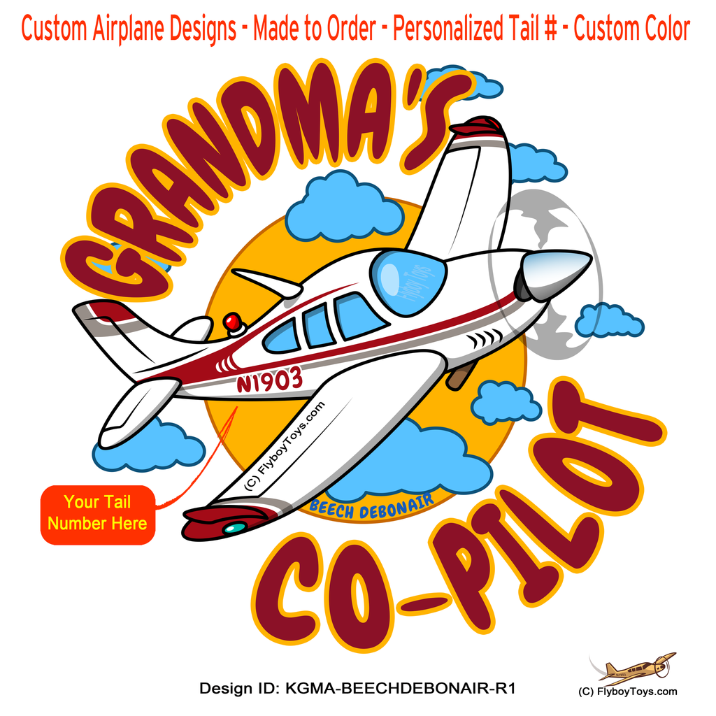Grandma's Co-Pilot Beechcraft Debonair (Red) Airplane Design