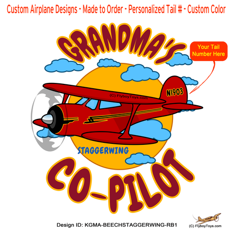 Grandma's Co-Pilot Beechcraft Staggerwing (Red/Black) Airplane Design