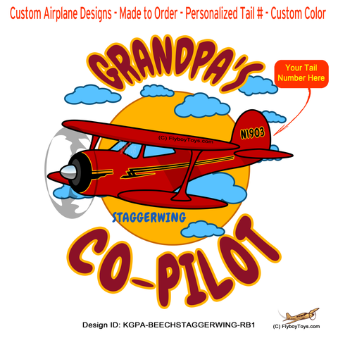 Grandpa's Co-Pilot Beechcraft Staggerwing (Red/Black) Airplane Design