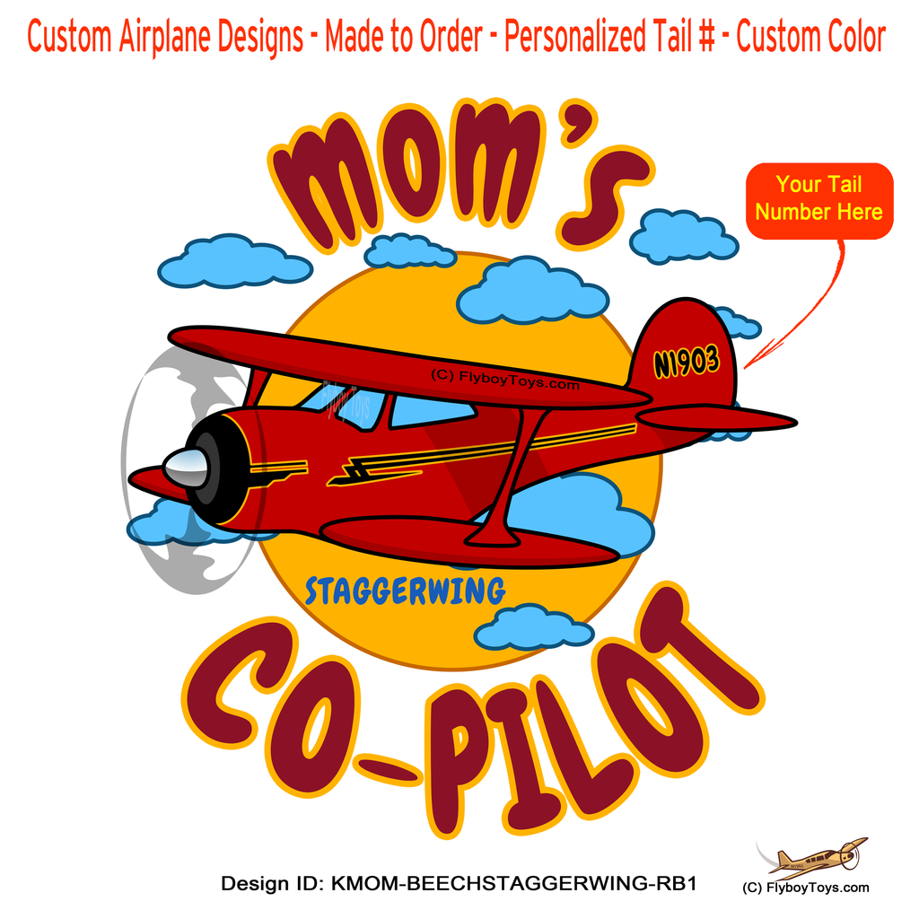 Mom's Co-Pilot Beechcraft Staggerwing (Red/Black) Airplane Design