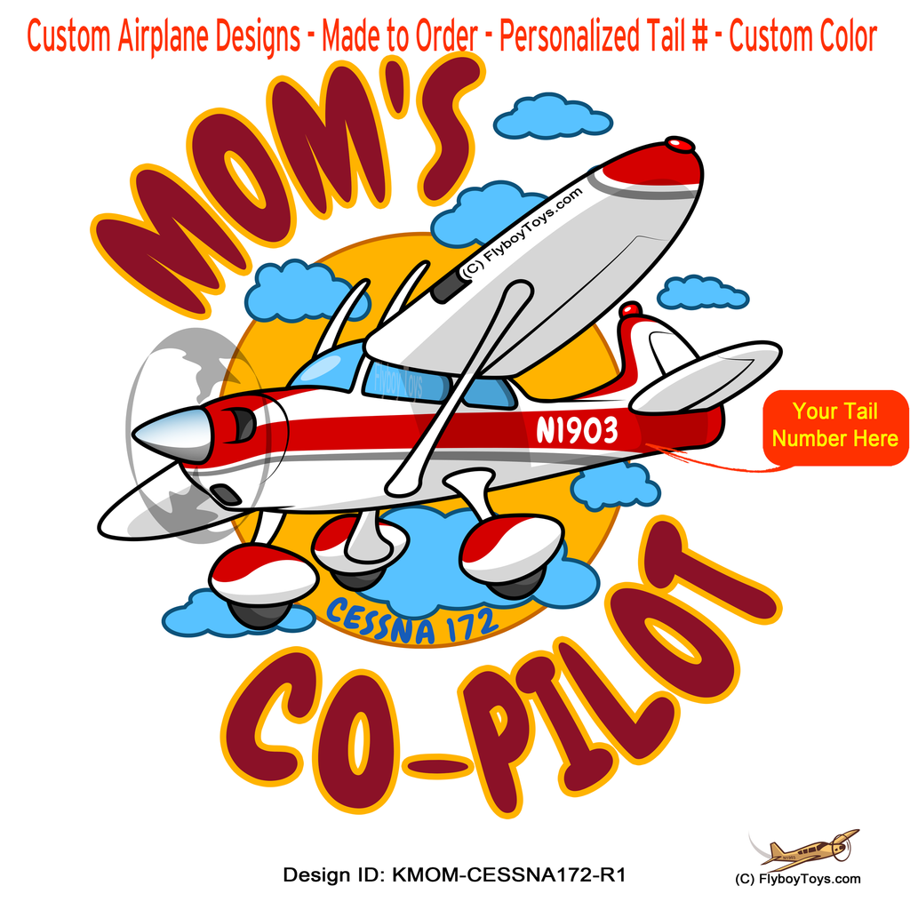Mom's Co-Pilot Cessna 172 Skyhawk (Red) Airplane Design