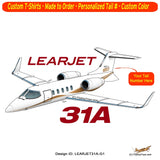 Learjet 31A (Gold) Airplane T-shirt - Personalized with Your N#
