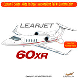 Learjet 60XR Airplane T-shirt - Personalized with N#