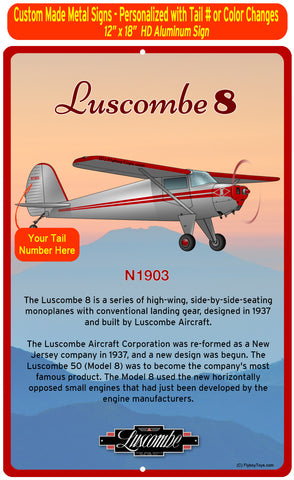 Luscombe 8 (Red/Silver) HD Airplane Sign