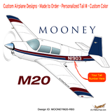 Mooney M20 / M20C (Red/Blue #3) Airplane Design
