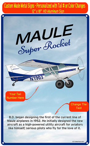 Maule MX-7-180B Super Rocket HD Airplane Sign - Blue