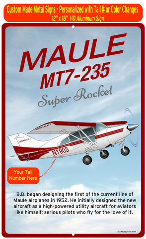 Maule MT7-235 Super Rocket (Red/Silver) HD Airplane Sign