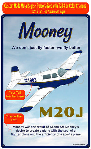Mooney M20J / 201 HD Airplane Sign - Blue