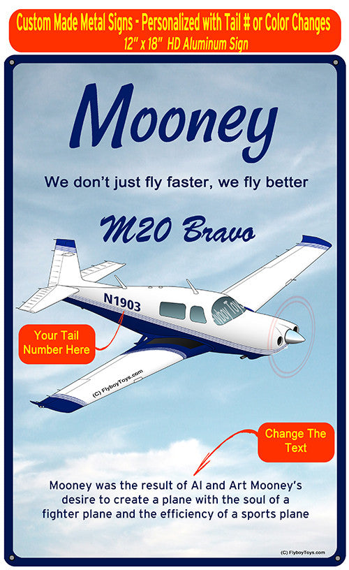 Mooney M20 Bravo HD Airplane Sign - Blue
