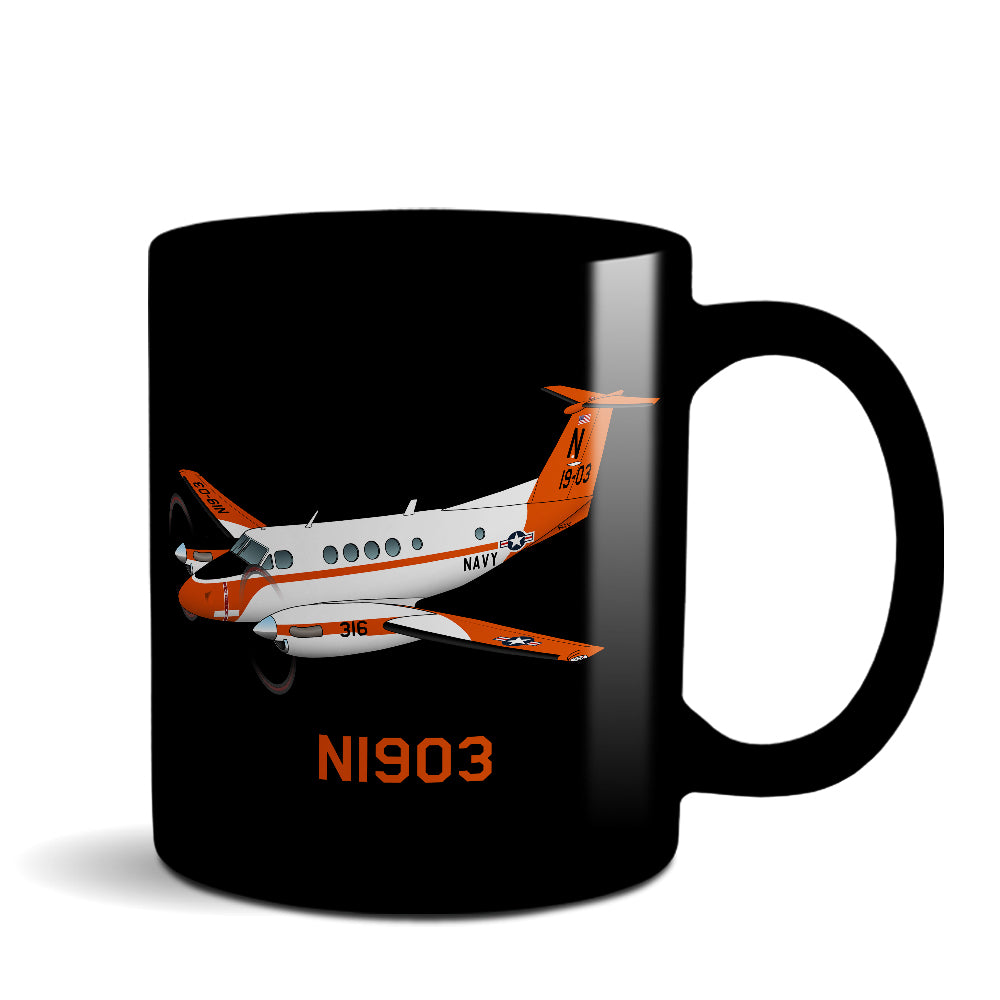 Cessna 210 Centurion (Blue) Airplane Design Ceramic Mug - Personalized with N#