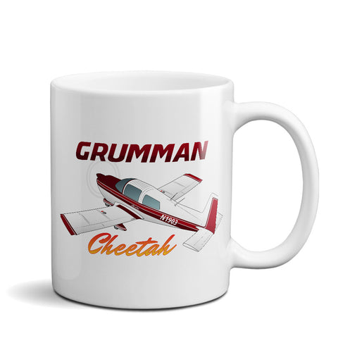 Grumman American AA-5A Cheetah Airplane Ceramic Mug - Personalized w/ N#