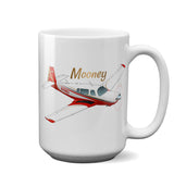 Mooney (Red) Airplane Ceramic Mug - Personalized w/ N#