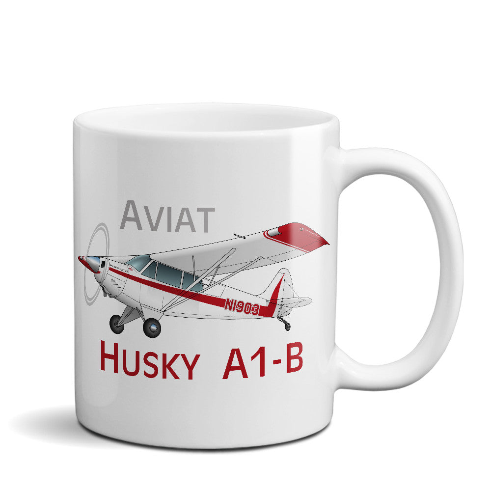 Aviat Husky A1-B Airplane Ceramic Mug - Personalized w/ N#