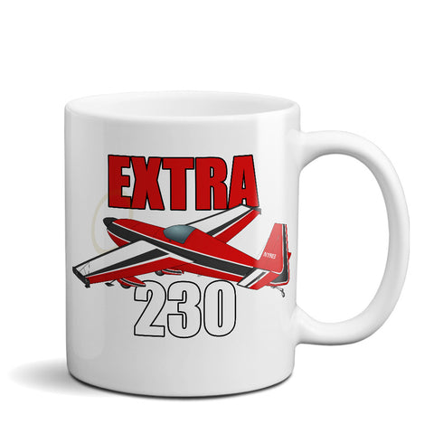 Extra 230 (Red) Airplane Ceramic Mug - Personalized w/ N#