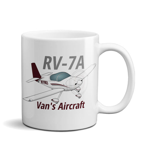 Van's Aircraft RV-7A Airplane Ceramic Mug - Personalized w/ N#
