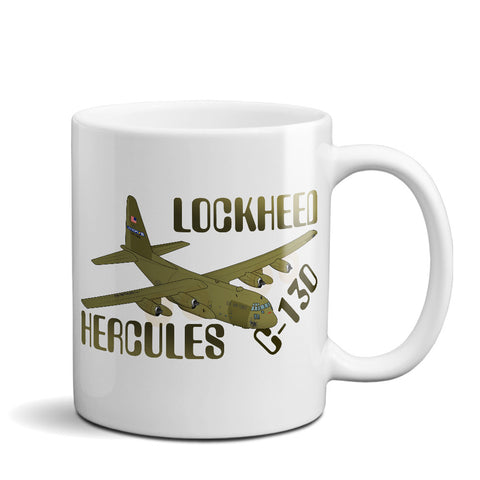 Lockheed USAF C-130E Hercules Airplane Ceramic Mug - Personalized w/ N#