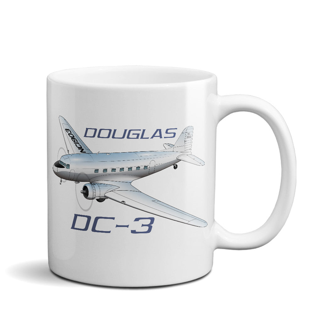 Douglas DC-3 Airplane Ceramic Mug - Personalized w/ N#