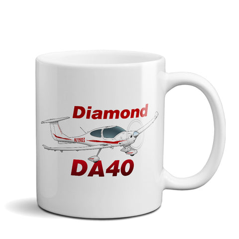 Diamond DA-40 Airplane Ceramic Mug - Personalized w/ N#