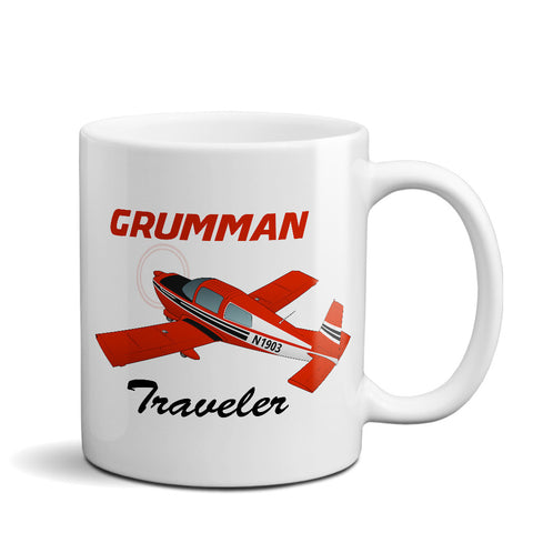 Grumman American AA-5 Traveler Airplane Ceramic Mug - Personalized w/ N#