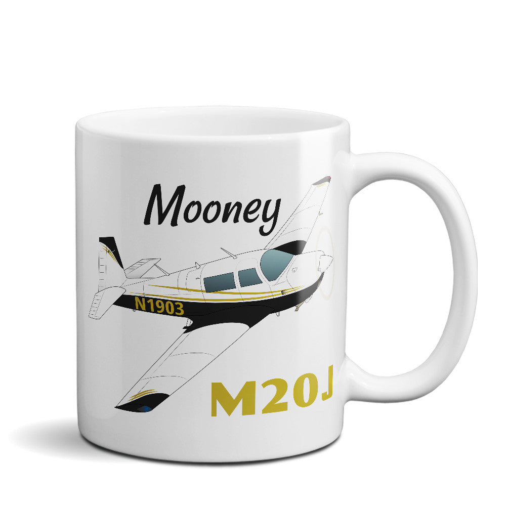 Mooney M20J / 201 Airplane Ceramic Mug - Personalized w/ N#