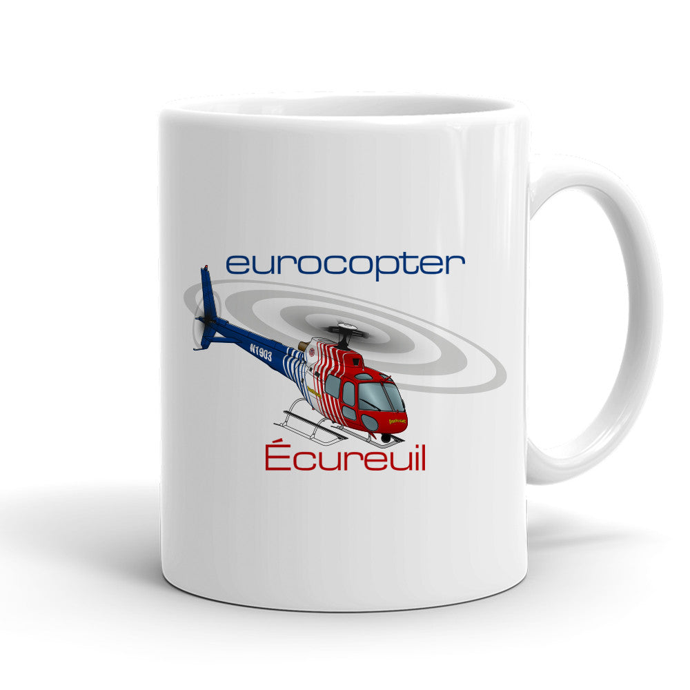 Eurocopter AS350 Ecureuil (Red/Blue) Helicopter Ceramic Mug - Personalized with N#