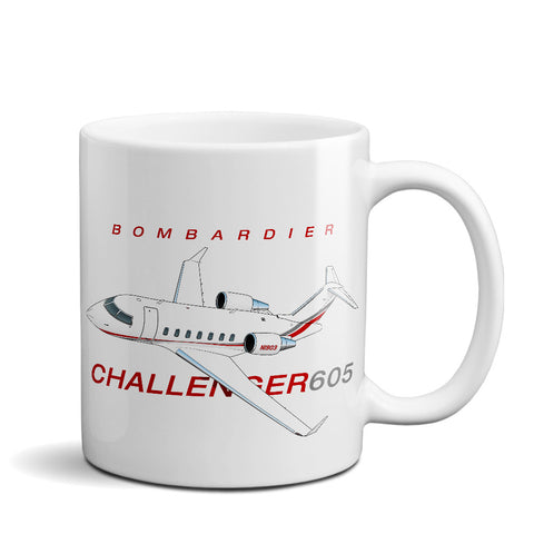 Bombardier Challenger 605 Airplane Ceramic Mug - Personalized w/ N#