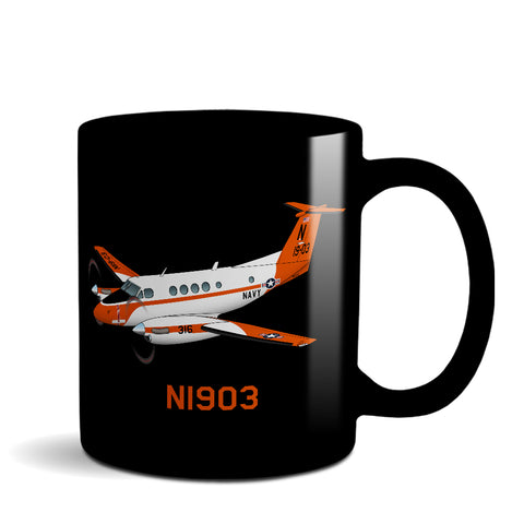 Airplane Ceramic Custom Black Mug (AIR255JLG200-O1) - Personalized w/ N#