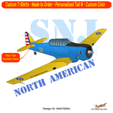 North American T-6 Texan / AT-6 / SNJ Airplane T-shirt - Personalized with Your N#