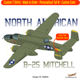 North American B-25 Mitchell Airplane T-shirt - Personalized with Your N#
