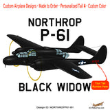 Northrop P-61 Black Widow (Black) Airplane T-shirt - Personalized with N#