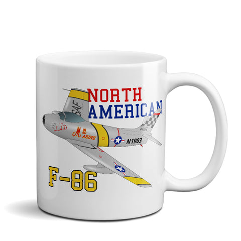 North American F-86 Sabre Airplane Ceramic Mug - Personalized w/ N#