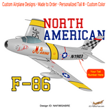 North American F-86 Sabre Airplane T-Shirt - Personalized w/ Your N#