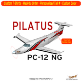 Pilatus PC-12 NG (Red/Black) Airplane T-shirt - Personalized with Your N#