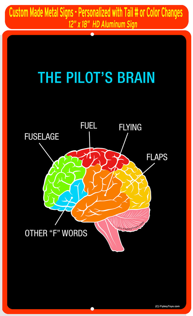 The Pilot's Brain Metal HD Airplane Sign