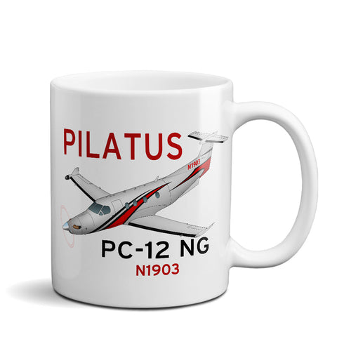 Pilatus PC-12 NG (Red/Black) Airplane Ceramic Mug - Personalized w/ N#