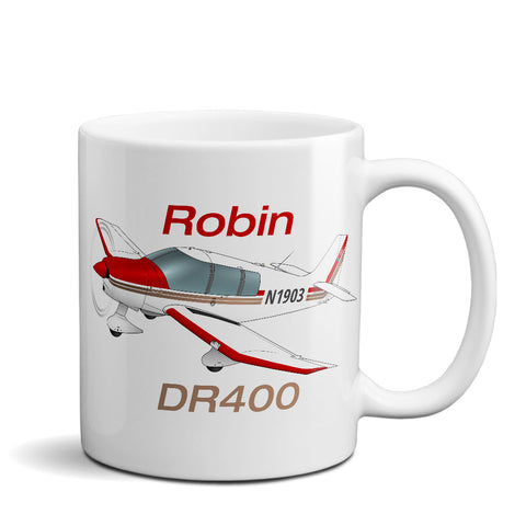 Robin DR400 (Red/Tan) Airplane Ceramic Mug - Personalized w/ N#