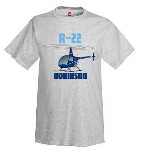 Robinson R22 (Blue) Airplane T-Shirt - Personalized w/ Your N#